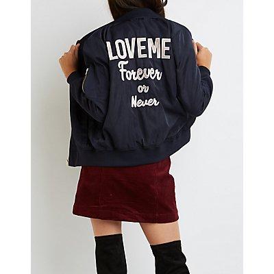 """""""Love Me"""" Zip-Up Bomber Jacket"""
