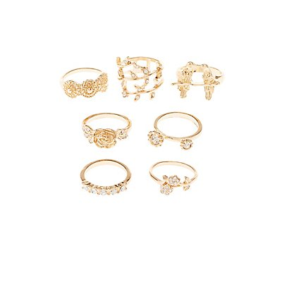 Embellished Romantic Theme Rings - 7 Pack
