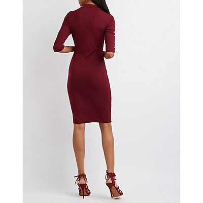 Laced Mock Neck Midi Dress