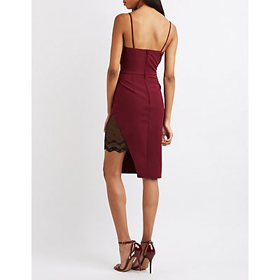 Lace-Trim Asymmetrical Bodycon Dress