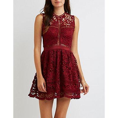 Floral Crochet Skater Dress