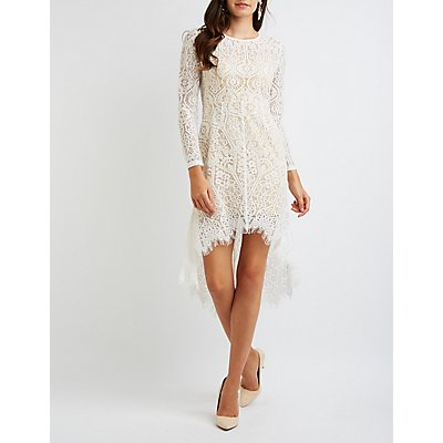Lace High-Low Bodycon Dress