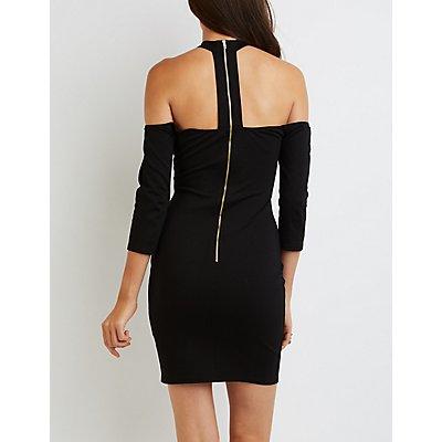 Caged Mock Neck Off-The-Shoulder Dress