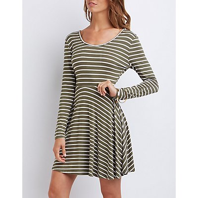 Striped Ruched-Back Skater Dress