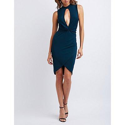 Mock Neck Knotted Asymmetrical Dress