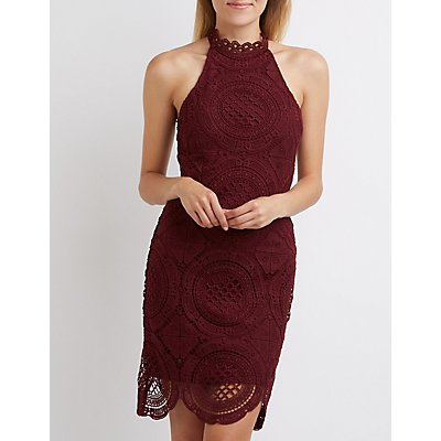 Crochet Mock Neck Bodycon Dress