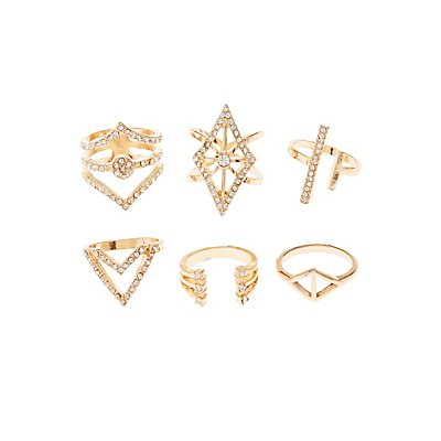 Embellished Caged Rings - 6 Pack