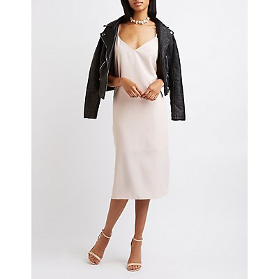 Midi Slit Slip Dress