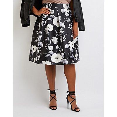 Plus Size Floral Pleated Midi Skirt