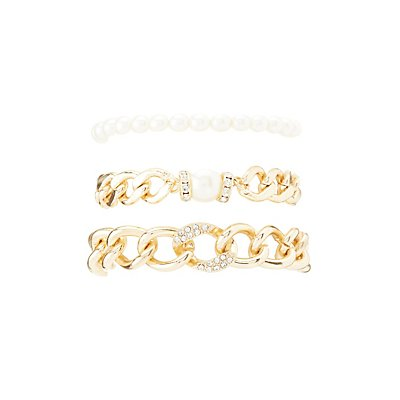 Chainlink & Pearl Bead Layering Bracelets - 3 Pack