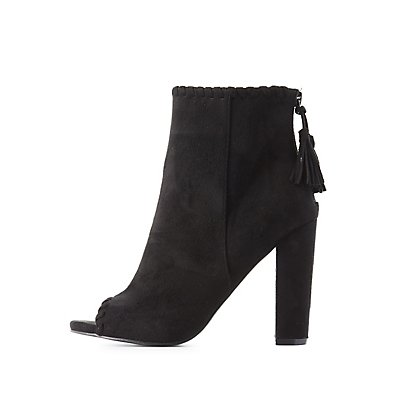 Whipstitch Peep Toe Ankle Booties