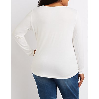 Plus Size Deep V-Neck Tee