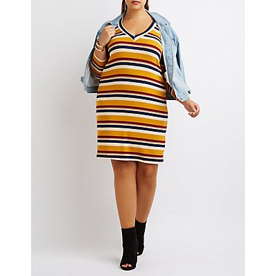 Plus Size Striped V-Neck Dress