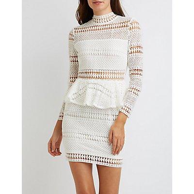 Crochet Mock Neck Peplum Dress