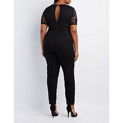 Plus Size Caged Lace Jumpsuit