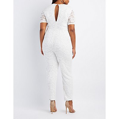 Plus Size Caged Lace Jumpsuit