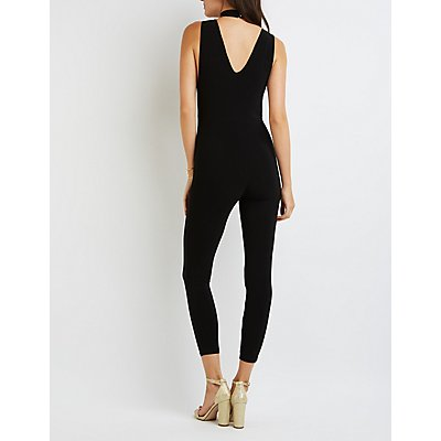 Mock Neck T-Strap Jumpsuit