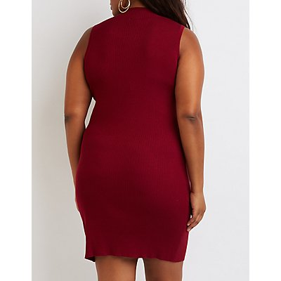 Plus Size Ribbed Mock Neck Dress