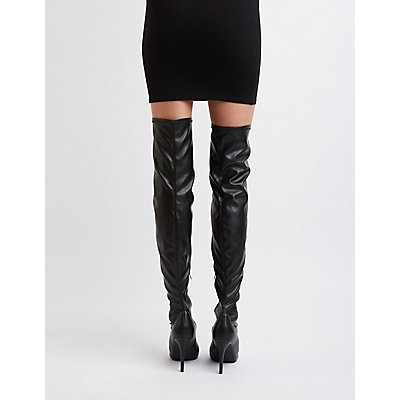Peep Toe Faux Leather Thigh-High Boots