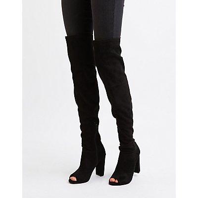 Peep Toe Thigh High Boots