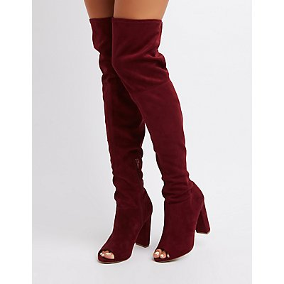 Peep Toe Over-The-Knee Boots | Charlotte Russe