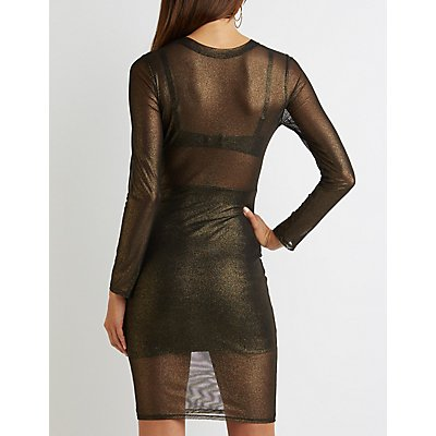 Shimmer Mesh Bodycon Dress