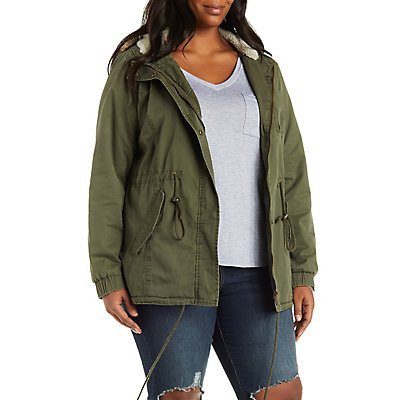 Plus Size Faux Shearling Anorak Jacket with Hood