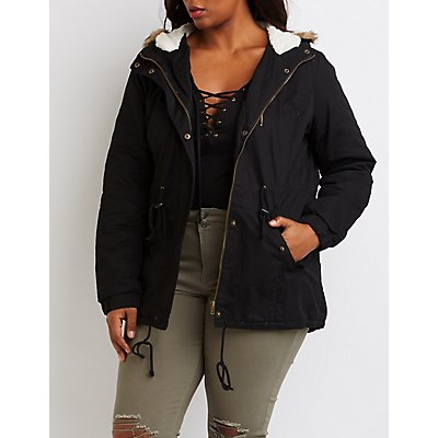 Plus Size Sherpa Lined Anorak Jacket