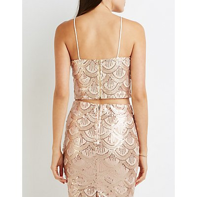 Sequin Bib Neck Crop Top