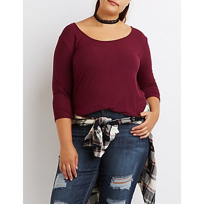 Plus Size Ribbed Lattice-Back Top