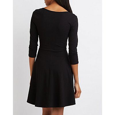 Wrapped Surplice Skater Dress