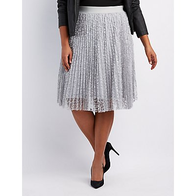 Plus Size Lace Pleated Midi Skirt