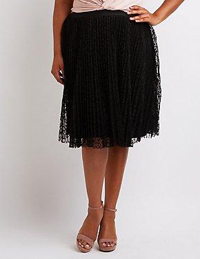 Plus Size Lace Pleated Midi Skirt