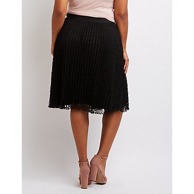 plus size lace pleated midi skirt russe