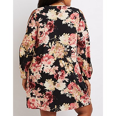 Plus Size Floral Cold Shoulder Shift Dress