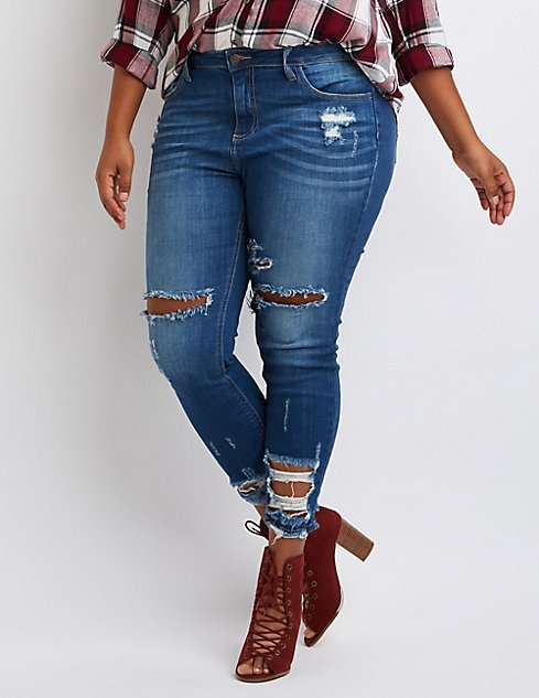 Plus Size Cello Destroyed Skinny Jeans | Charlotte Russe