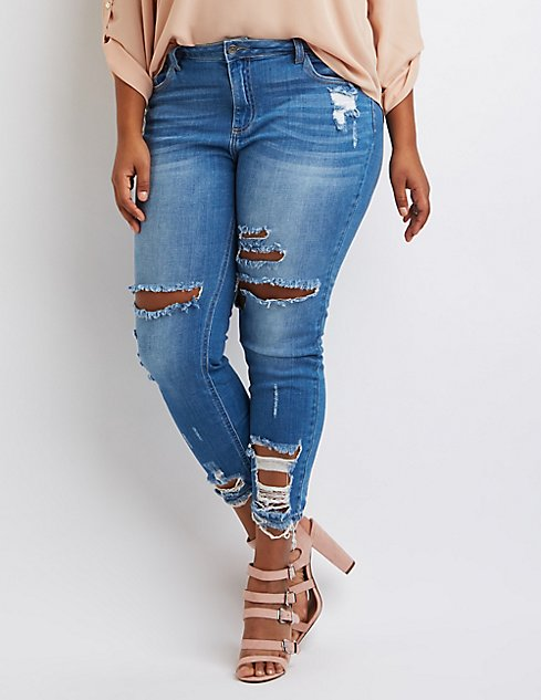 Plus Size Cello Destroyed Skinny Jeans   Charlotte Russe