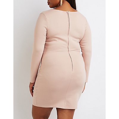 Plus Size Lattice-Front Bodycon Dress