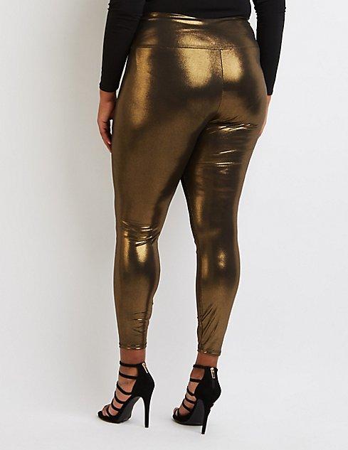 Plus Size Metallic Liquid Leggings | Charlotte Russe
