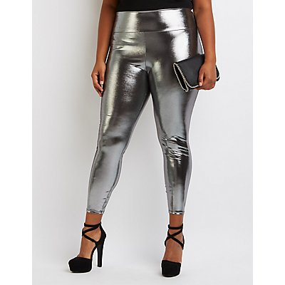 Plus Size Metallic Liquid Leggings