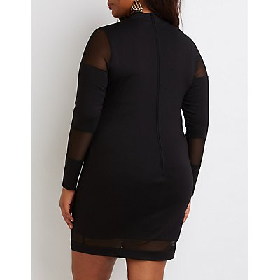 Plus Size Mesh Panel Bodycon Dress