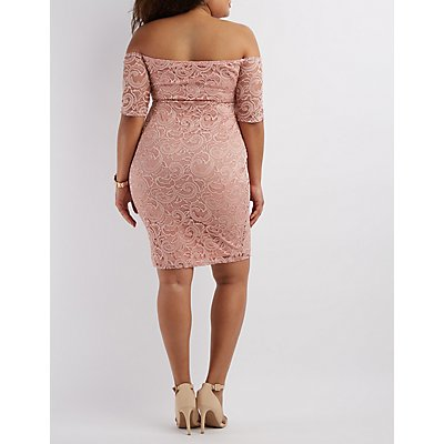 Plus Size Lace Off-The-Shoulder Bodycon Dress