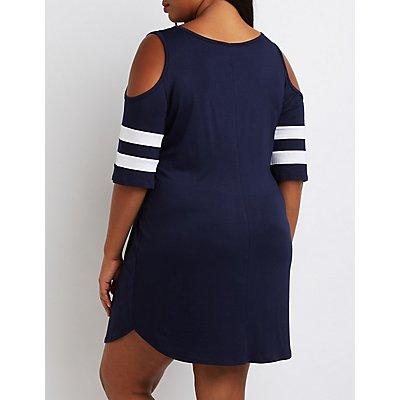 Plus Size Football Stripe Cold Shoulder Dress