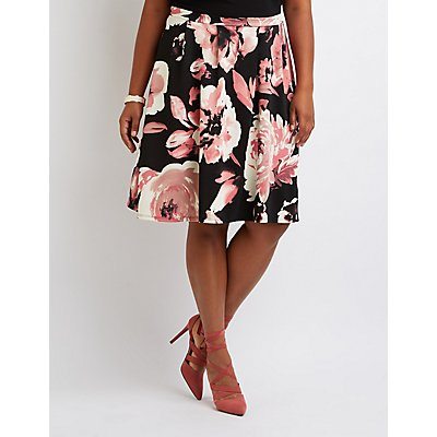 Plus Size Floral Pleated Midi Skirt