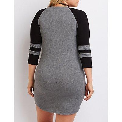 Plus Size Striped Raglan T-Shirt Dress