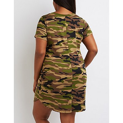Plus Size Patched Camo T-Shirt Dress