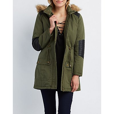 Faux Fur & Leather-Trim Hooded Anorak Jacket