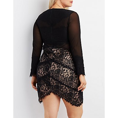 Plus Size Lace & Mesh Asymmetrical Bodycon Dress