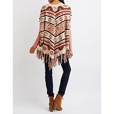 Geometric Fringed Poncho