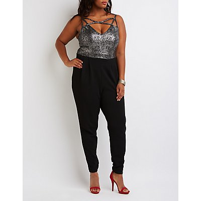 Plus Size Caged Metallic Combo Jumpsuit